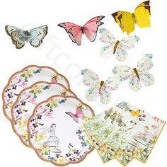 Truly fairy vintage floral #butterfly tea #party #tableware talking tables hen ,  View more on the LINK: 	http://www.zeppy.io/product/gb/2/172264099389/
