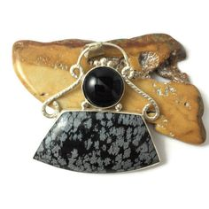 Snowflake Obsidian and Obsidian Multi-Stone by fall4handmade
