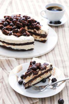 Espresso Fudge Brownie Mudslide Ice Cream Cake with no-churn coffee ice cream