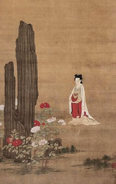 宋元-钱选-仕女图    Painted by the Song Dynasty artist Qian Xuan 钱选.
