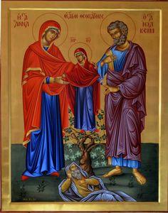 Joachim & the Theotokos by Georgios Zafiriou Russian Icons, Byzantine Icons, Orthodox Christianity, Religious Icons, Orthodox Icons, Sacred Art, Catholic, Saints, Spirituality