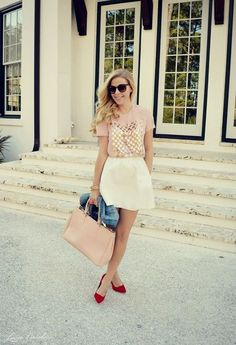 street styler. summer pastel outfit, red pumps, white skirt