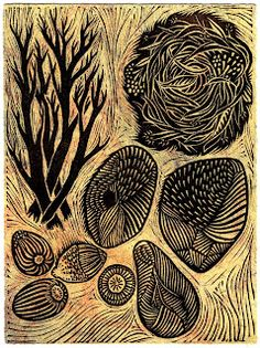 Gathering (Autumn) by Aijung Kim  Linocut and Monotype  I was interested in depicting a nest and other objects from nature. The original idea was to print these objects as one grouping, and then cut and collage the different elements into other work. But I ended up liking it as a whole, so I stuck with that. I tend to create images that I have grander plans for, which simply end up as a grouping or sequential composition.