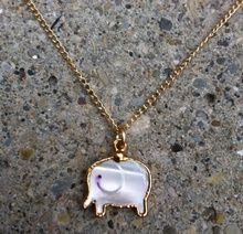 Mother of Pearl Elephant charm Necklace