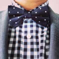 Spotted Bow Tie & Black Gingham Shirt.