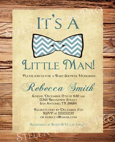 Baby shower Invitation boy, Bow Tie Boy Shower,  Little Man, Brown, Teal, vintage, Chevron Stripes, Baby Boy Shower, Printable. $20.00, via Etsy.