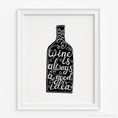Wine Typography Home Decor Print. Starting Price $9.90 at VocaPrints.com - #Alcohol #typography#wallprint#homedecor#wine