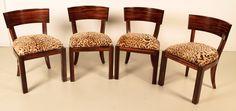 Vier Art Deco Stühle in Makassarholz Epoche : Art Deco Holzart : Makassar Maße : Höhe 81 cm, Breite 51 cm, Tiefe 56 cm, Sitzhöhe 50 cm Kennung : Nr. 757