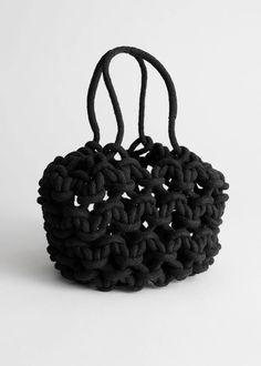 Mar 2020 - Cotton Macrame Bucket Bag - Black - Shoulderbags - & Other Stories Clear Tote Bags, Macrame Bag, Knitted Bags, Knit Bag, Diy Crochet, Crochet Tote, Second Hand, Who What Wear, Leather Crossbody Bag