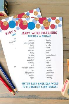 British baby shower theme part game.