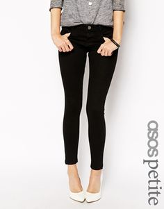 295a9b897d87 ASOS PETITE Whitby Low Rise Skinny Ankle Grazer Jeans in Clean Black Ankle  Grazer Jeans