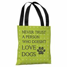 """Polka dot tote bag in lime with a typographic design. Made in the USA.  Product: Tote bagConstruction Material: 100% Premium polyester poplinColor: Gray, white and lime greenFeatures:  OversizedMade in the USADouble sided printing Dimensions: 18"""" H Cleaning and Care: Spot clean"""
