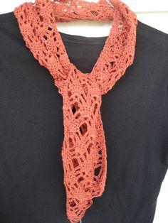 lacy orange crochet scarflette, lace scarf - $25.50