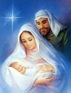 The First Christmas with Mary, Joseph and Baby Jesus with the Star of Christmas