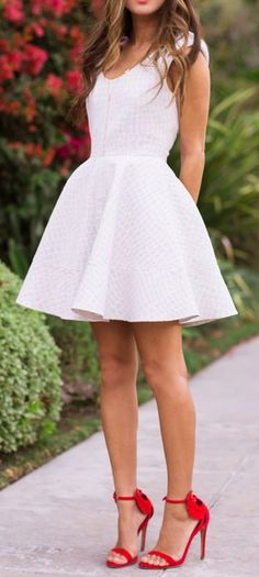 I like the idea of adding some color to the outfit via shoes to my rehearsal dinner dress. Little White Dresses // Aisle Perfect White Skater Dresses, Little White Dresses, Passion For Fashion, Love Fashion, Fashion Beauty, Fashion Shoes, Girl Fashion, Fashion Clothes, Fashion Outfits