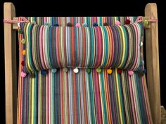 Make your Deckchair, Garden Chair or Steamer Chairs more comfy with our Tie-On Deckchair Headrest Cushions Yellow Ties, Cushions, Pillows, Garden Chairs, Canvas Fabric, Stripes, Comfy, Make It Yourself, Steamer
