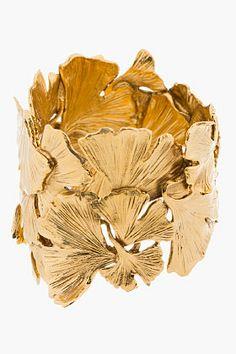 AURÉLIE BIDERMANN Gold Articulated Ginkgo Leaf Tangerine Cuff