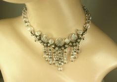 Art Deco Intaglio Crystal & Silver Filigree by Topcatvintage, $400.00