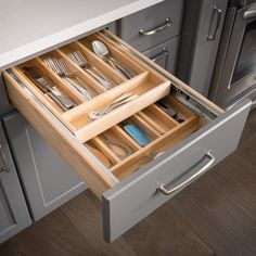 Kitchen Makeover Hardware Resources Double Cutlery x x Drawer Organizer - Diy Kitchen Cabinets, Kitchen Drawers, Kitchen Cabinet Design, Kitchen Remodeling, Corner Drawers, Remodeling Ideas, Tall Drawers, Base Cabinets, Classic Kitchen