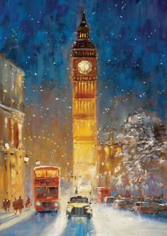 Big Ben in Winter ~ artist John Haskins Illustration Noel, Illustrations, London Illustration, London Painting, London Art, London Snow, Winter Scenes, Best Cities, Christmas Art