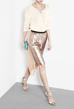 Tan Sequin Skirt by DKNY