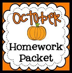 Homework Packet- October for Pre-k!