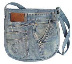 BDJ Upcycling Blue Denim Jean Flap Over Messenger Crossbody Hobo Shoulder Handbag (Jikko 5)