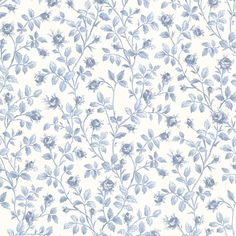 Brewster Wallcovering Blue Strippable Non-Woven Paper Unpasted Classic Wallpaper Classic Wallpaper, Home Wallpaper, Living Style, Decoupage, Embossed Wallpaper, 3d Warehouse, Paper Background, Rose Buds, Vintage Paper