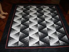 black and white strip pieced  60 degree triangle quilt