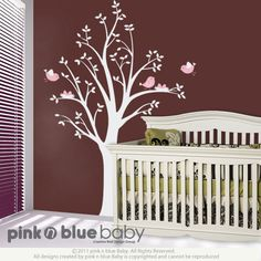 Nursery Wall Decals, Two nests on the Tree ,  Nursery Kids Removable Wall Vinyl Decal, Sticker. $67.00, via Etsy.