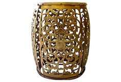One Kings Lane - Brass Reticulated Stool