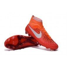 hot sale online 85bb3 8d8f6 Nike Magista Obra Radiant Reveal FG - Zapatos de fútbol baratos de color  carmesí naranja