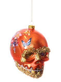 Sublime Skull Ornament in Orange at PLASTICLAND