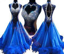 Women Feather B4245 Ballroom tango salsa waltz Formal dance dress UK10