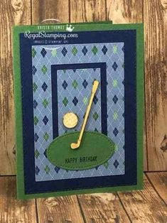 Clubhouse, Golf Club Dies, Country Club DSP, Stitched Shapes Dies, Stitched Rectangles Dies (by sanitystamper on SCS Golf Cards, 3d Cards, Folded Cards, Stampin Up Cards, Golf Birthday Cards, Handmade Birthday Cards, Man Birthday, Birthday Greetings, Birthday Wishes
