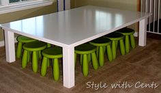 DIY kids table: pottery barn kids inspired train table kids table for $40