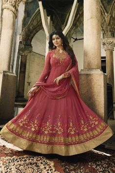 4ae001a97a7b Latest Fancy Party Wear Faux Georgette Embroidered Anarkali Salwar Suit  Lehenga Style Saree, Lehenga Choli