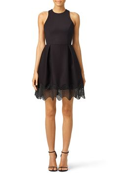 Black dress with lace illusion hemline. Perfect for rehearsal dinners all year long!  nha khanh Tiffany Illusion Dress
