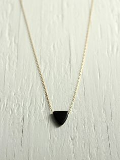 Black Triangle Necklace on a 14kt Gold Filled Chain Delicate Jewelry