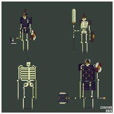Some bone warriors for pixel dailies #sketchbook #sketch #illustration #doodle #pixel #pixelart #art #gameart #design #drawing #characterdesign #conceptart