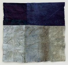 "Mary Hark, handmade paper.  From a series ""Driftless Reveries: early winter"".  Flax and abaca paper, indigo dye, mixed media.  maryhark.blogspot.com"