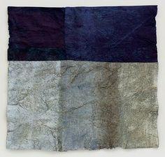 "Mary Hark, handmade paper.  From a series ""Driftless Reveries: early winter"".  Flax and abaca paper, indigo dye, mixed media.  maryhark.blogspot.com"