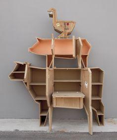 Wooden bedside table SENDING GOOSE by Seletti | design Marcantonio Raimondi Malerba
