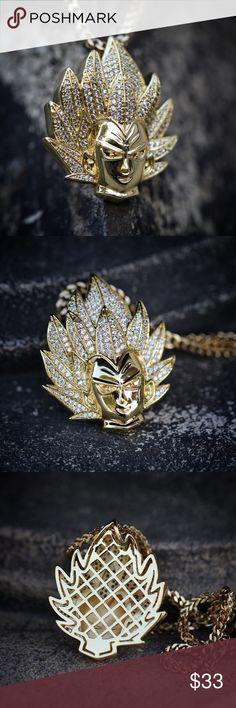 92d4c9fa6db Custom 14k Gold Plated Iced Goku Pendant Necklace Custom 14k Gold Plated  Iced Goku Pendant Necklace