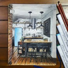 Industrial Style, Kitchen. Drawings of Architecture and Interior Design. By Glenn Geraldi.