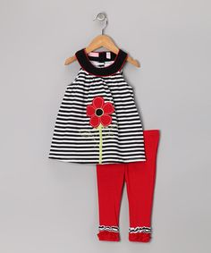 {Black & Red Daisy Yoke Tunic & Leggings - Toddler & Girls by Kids Headquarters} Too early to think spring?