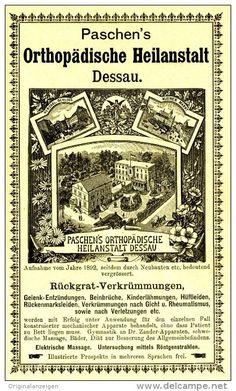 Original-Werbung/ Anzeige 1898 - DESSAU-ANHALT / PASCHEN´S ORTHOPÄDISCHE HEILANSTALT - ca. 100 x 175 mm