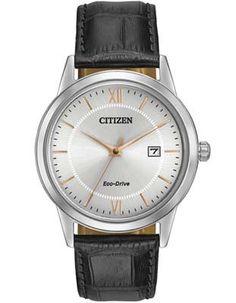 Citizen Mens Eco-Drive Strap Watch - Silver-tone Case and Dial - Black Strap