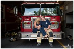 Fire Hall Engagement Photography Calgary, Fire Station Engagement Photos, Firefighter Wedding Photography