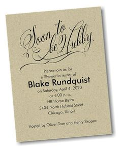 Soon to Be Hubby Shower Invitation
